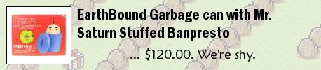 EarthBound Garbage can with Mr. Saturn Stuffed Banpresto