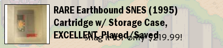 RARE Earthbound SNES (1995) Cartridge w/ Storage Case, EXCELLENT, Played/Saved
