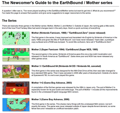 The Newcomer's Guide to MOTHER « EarthBound Central